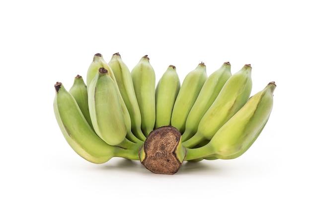 Банан или культивируемые банановые фрукты, изолированные на белом фоне.