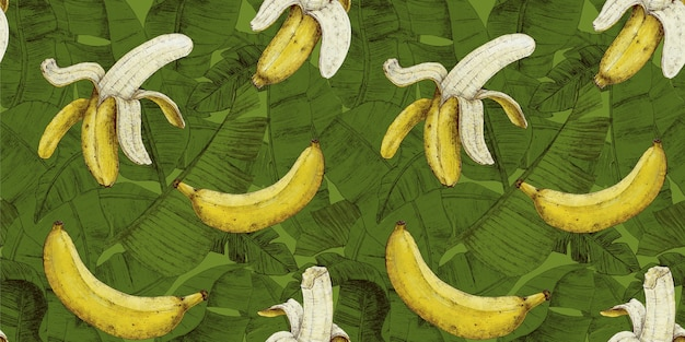 Banana pattern with tropical leaves on a bright green background