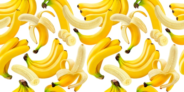 Banana seamless pattern, falling bananas isolated on white with clipping path