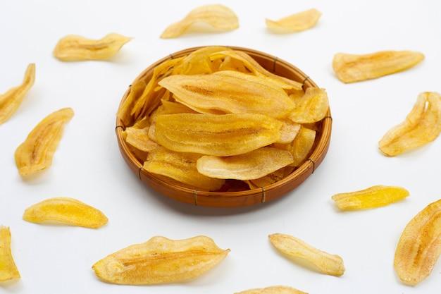 Banana slice chips on white background.