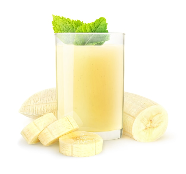 Banana smoothie and peeled sliced banana fruit isolated on white background