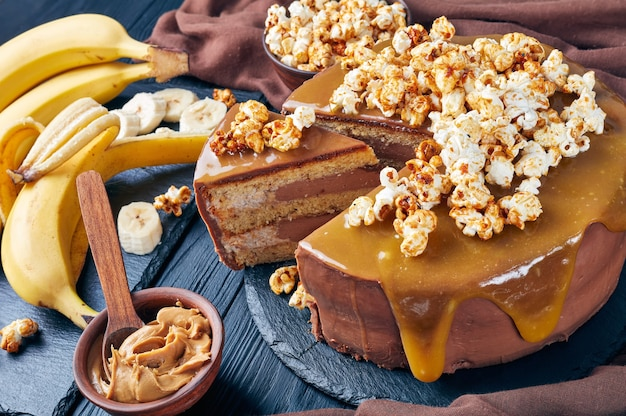 Banana sponge cake layered with peanut butter mousse