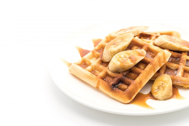 Banana waffle with caramel