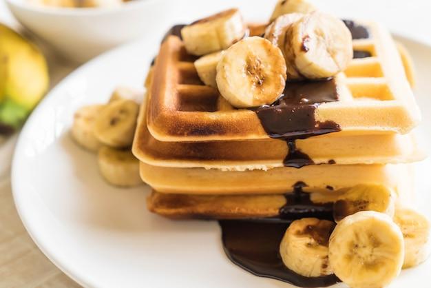 Banana waffle with chocolate