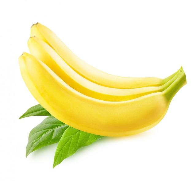 白で隔離されるバナナ