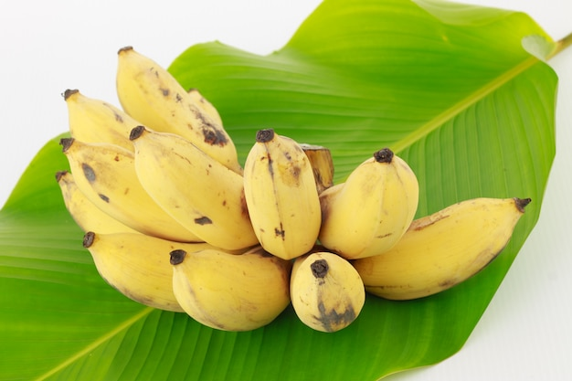 Bananas on palm leaf
