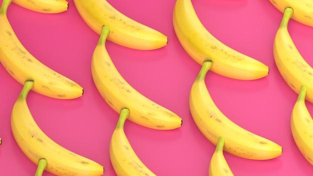 Bananas pattern on pink background, 3d render.