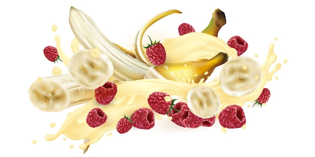 Bananas and raspberries in a milkshake or yogurt splash.