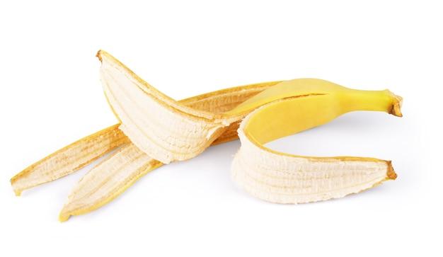 바나나 피부 흰색 배경에 고립