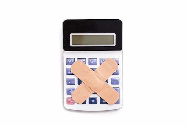 電卓番号、経済概念のxまたはクロスを形成するバンドエイド