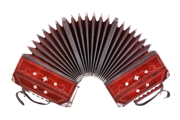 Bandoneon, tango instrument, front view, isolated on white