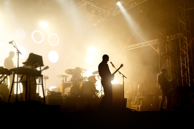 Bands silhouettes on a concer vocalist with guitar