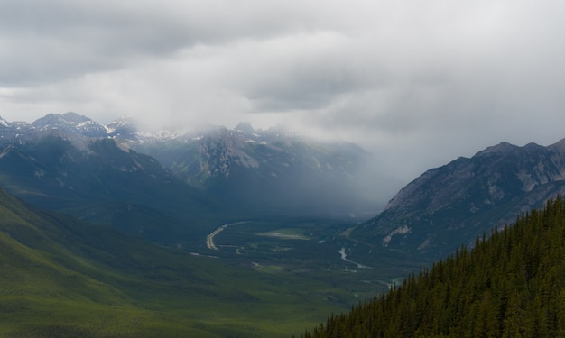Banff from above in cloudy day, summer, banff national park, alberta, canada