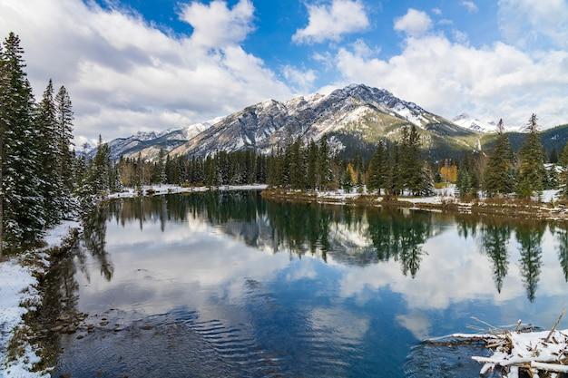 밴프 국립공원(banff national park) 겨울 화창한 날 푸른 하늘이 있는 노퀘이 산(mount norquay)의 아름다운 자연 풍경