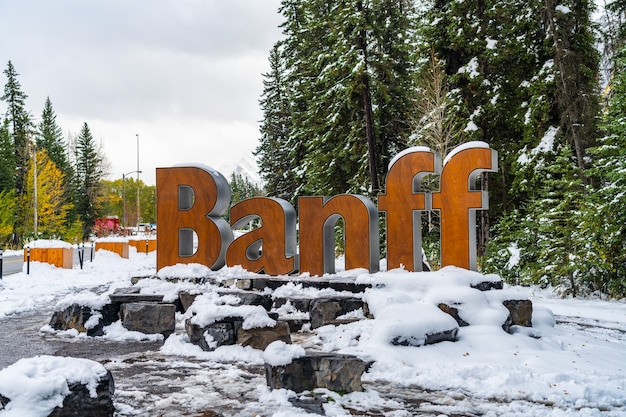 Banff town sign in snowy winter. banff national park, canadian rockies. banff, canada