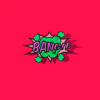 Bang comic text in pop-art style on red background