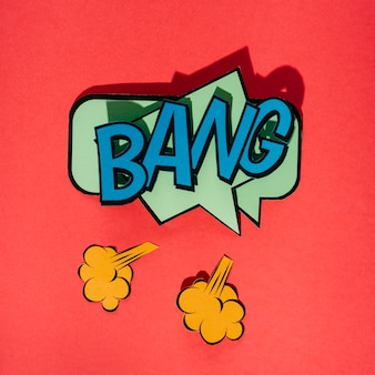 Bang comic text sound effect speech bubble in retro pop style art