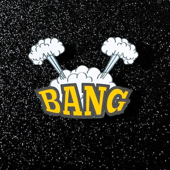 Bang word retro comic speech bubble on dark backdrop
