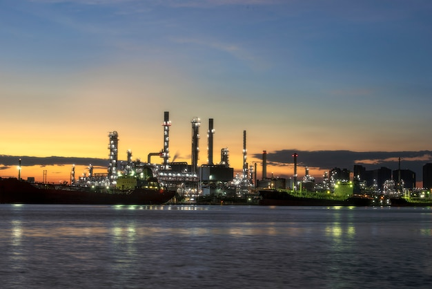 Bangchak refinery view of chao phraya river samut prakarn province morning