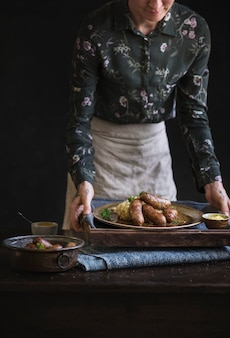 Bangers and mash food photography recipe idea