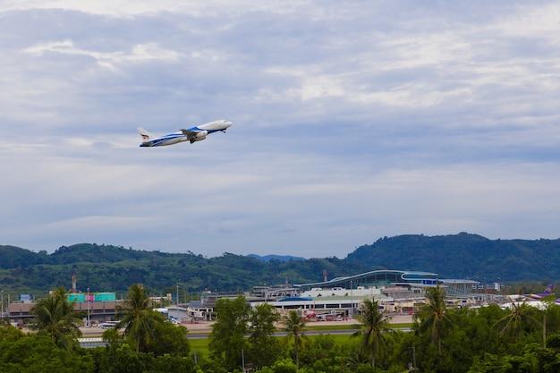 Bangkok airways plane takes off at phuket international airport