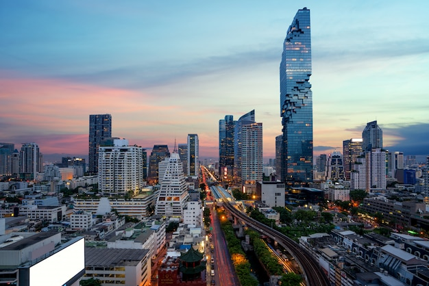 Bangkok before sunset with modern business building from top view in bangkok, thailand.