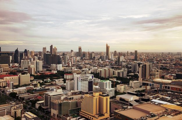 Bangkok capital city of thailand with high building from top view