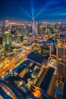 Bangkok city seen from roof top at night