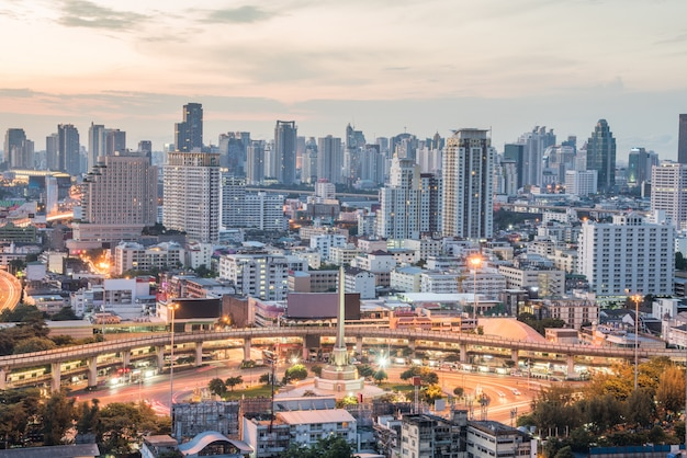 Bangkok city at sunrise time, hotel and resident area in the capital of thailand.