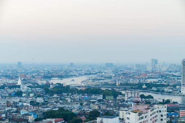 방콕시 태국 대기 오염은 여전히 위험한 수준 pm 2.5 오염 물질-먼지 및 연기 높은 수준 pm 2.5