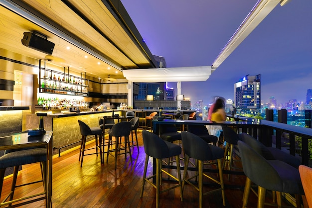Bangkok city view point from rooftop bar overlooking a magnificent cityscape