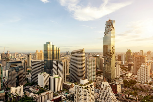 Bangkok city with skyscraper and urban skyline at sunset in bangkok, thailand
