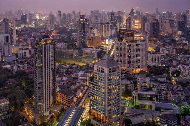 Bangkok cityscape modern building at twilight time, thailand