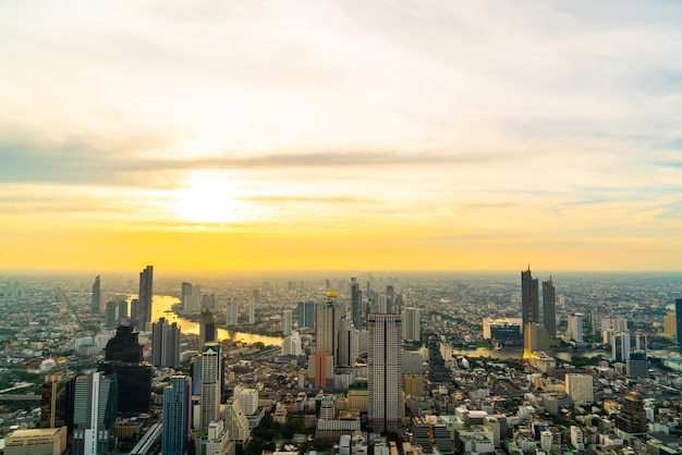 Bangkok cityscape with beautiful exterior of building and architecturein in thailand
