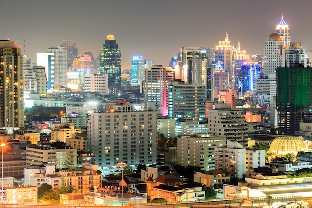 Bangkok downtown in business area at night