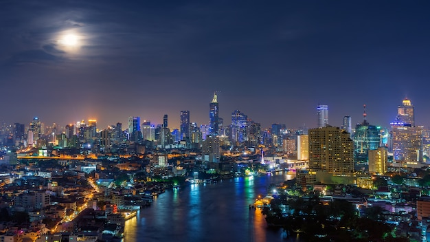 Bangkok at night, panoramic.