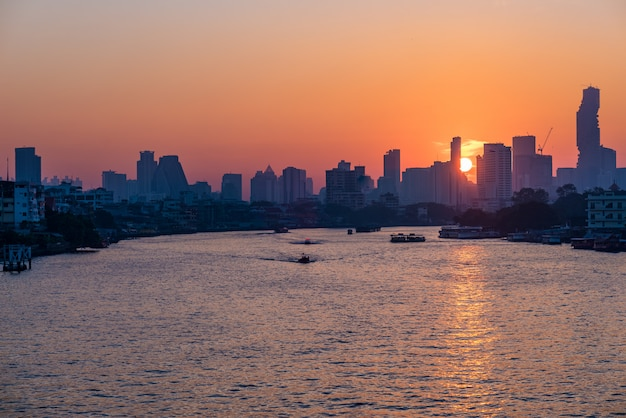 Bangkok skyline at sunrise, capital city of thailand, scenic cityscape
