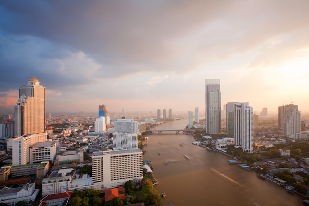 Bangkok skyline sunset