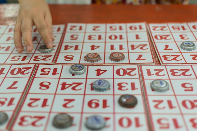 Bangkok, thailand - january 10, 2016 : a bingo games is a popular games in a temple festival at bang