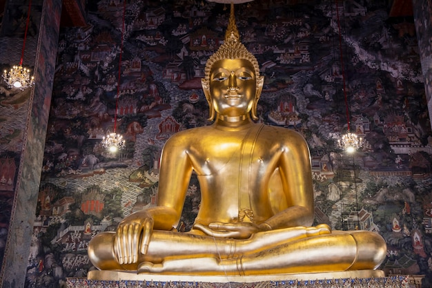 Bangkok,thailand-july 4,2020:the big gold buddha statue in side chuch in suthat temple at bangkok