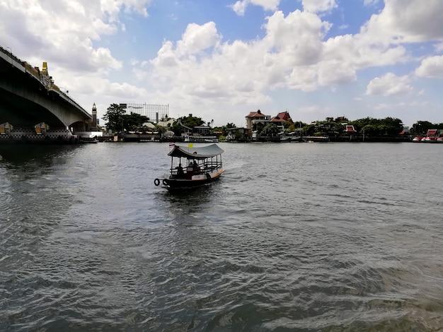 バンコクタイ2021年6月20日チャオパヤ川の午後に向かいのボート桟橋を見る