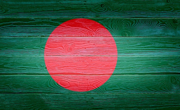 Bangladesh flag painted on old wood plank background