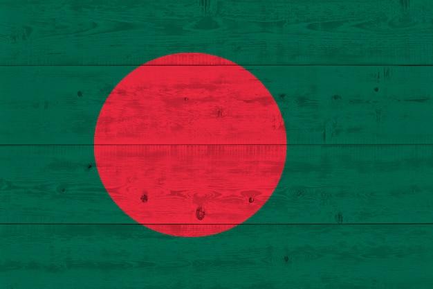 Bangladesh flag painted on old wood plank