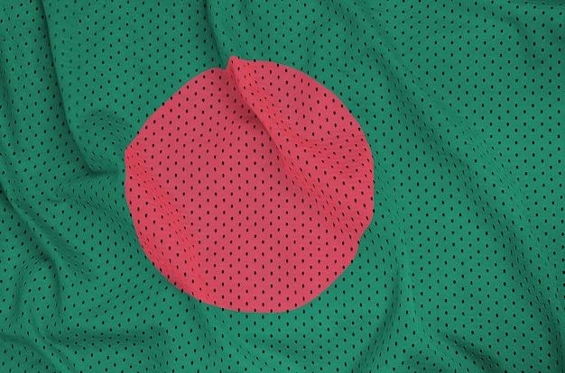 Bangladesh flag printed on a polyester nylon sportswear mesh fabric
