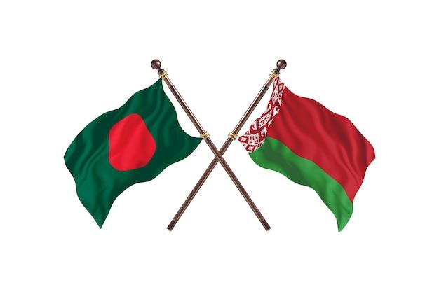 Бангладеш против фона флагов беларуси