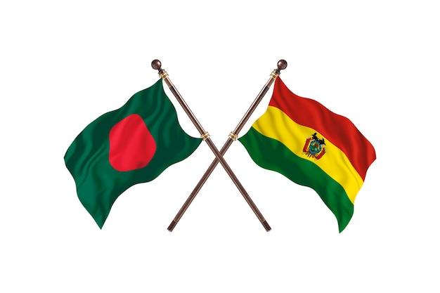 Bangladesh versus bolivia flags background