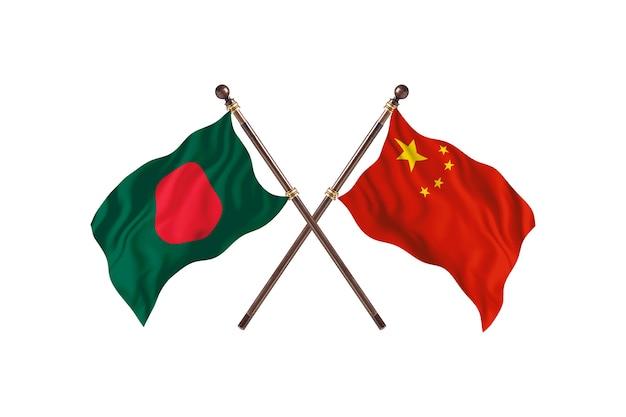 방글라데시 대 중국 국기 배경