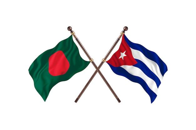 Bangladesh versus cuba flags background