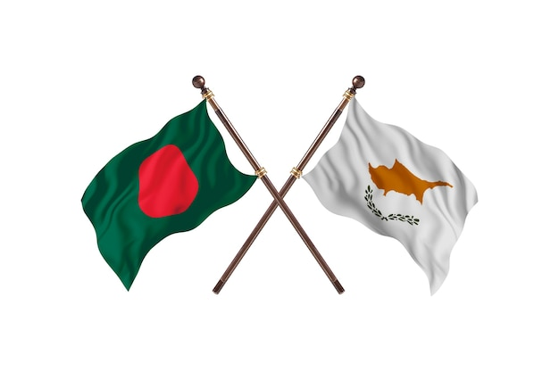 Bangladesh versus cyprus flags background