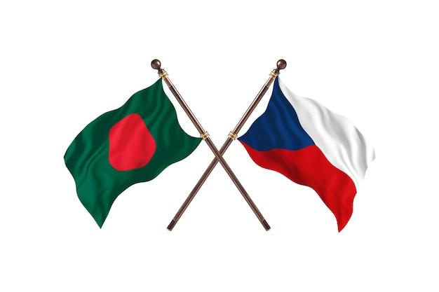 Bangladesh versus czech republic flags background